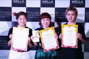 優勝 井上瑶稀さん(真ん中)、準優勝 田中亜由美さん(左)、 3位 泊美亘さん(右)